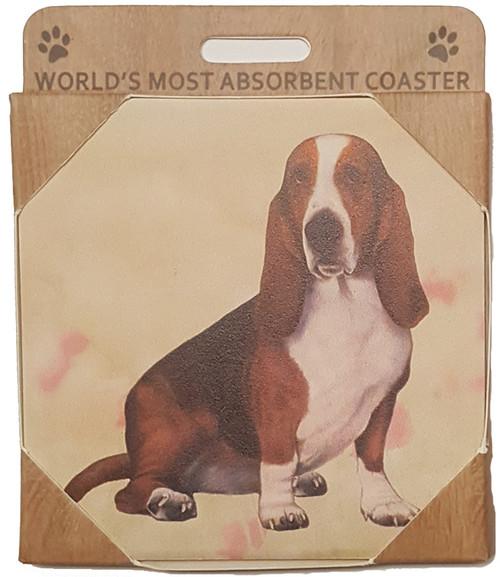 E&S Imports Ceramic Pet Coasters - Basset Hound (250-2)