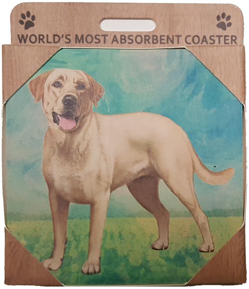 E&S Imports Ceramic Pet Coasters - Labrador Retriever - Yellow (250-20a)