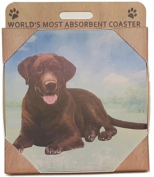 E&S Imports Ceramic Pet Coasters - Chocolate Labrador (250-22)