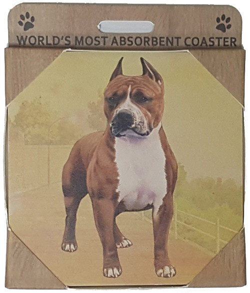 E&S Imports Ceramic Pet Coasters - Pit Bull (Brindle) (250-26)