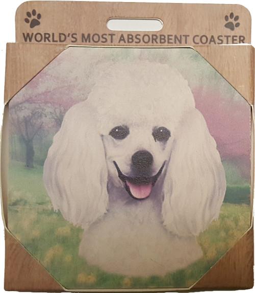 E&S Imports Ceramic Pet Coasters - Poodle (White) (250-28)