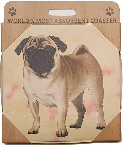 E&S Imports Ceramic Coasters - Pug (250-31a)