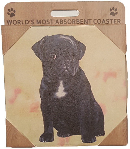 E&S Imports Ceramic Pet Coasters - Pug (Black) (250-32)