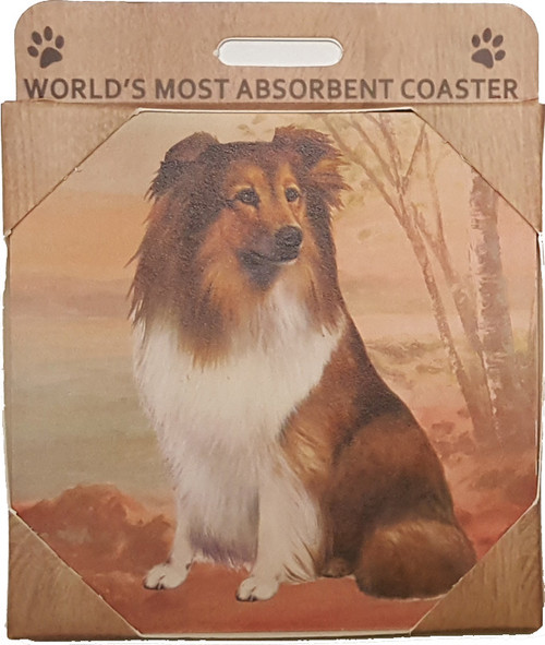 E&S Imports Ceramic Pet Coasters - Shetland Sheep Dog (Sheltie) (250-37)