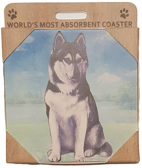 E&S Imports Ceramic Pet Coasters - Siberian Husky (250-40)