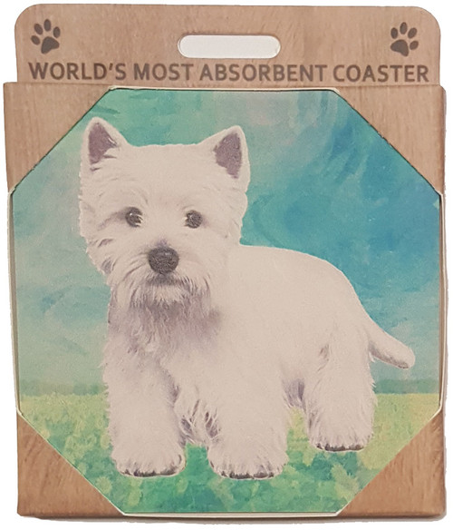E&S Imports Ceramic Pet Coasters - Wesh Highland Terrier (Westie) (250-45)