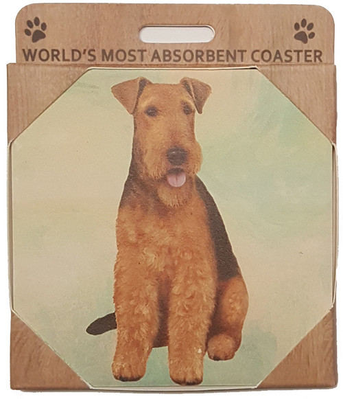 E&S Imports Ceramic Pet Coasters - Airedale (250-57)