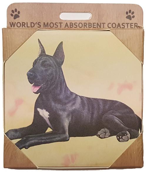 E&S Imports Ceramic Pet Coasters - Great Dane, Black (250-66b)