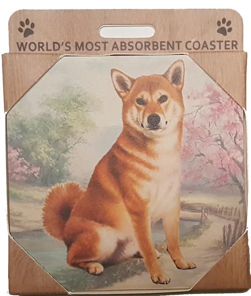 E&S Imports Ceramic Pet Coasters - Shiba Inu (250-68)