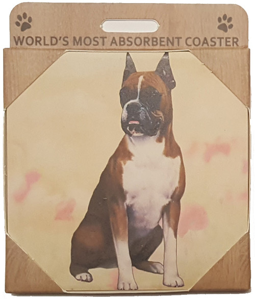E&S Imports Ceramic Pet Coasters - Boxer, Cropped (250-7)