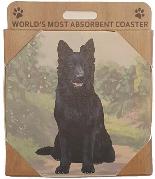 E&S Imports Ceramic Pet Coasters - German Shepherd (Black) (250-75b)