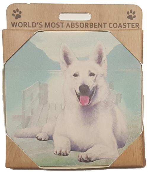 E&S Imports Ceramic Pet Coasters - German Shepherd (White) (250-75w)