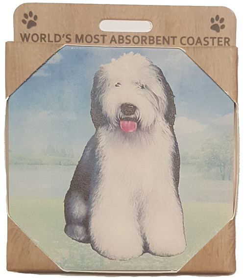 E&S Imports Ceramic Pet Coasters - Old English Sheepdog (250-77)