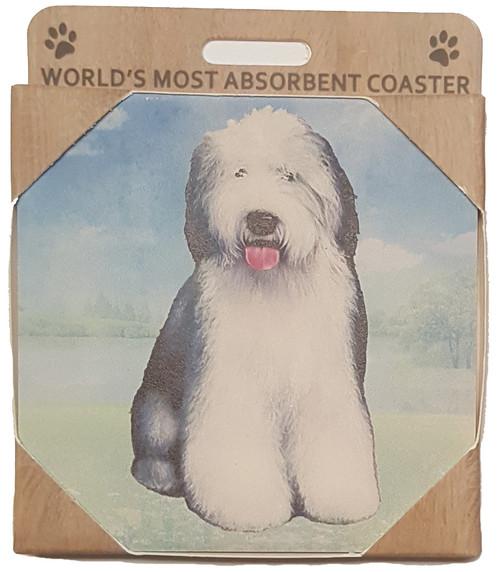 E&S Imports Ceramic Pet Coasters - Old English Sheepdog (250-77)