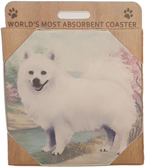 E&S Imports Ceramic Pet Coasters - American Eskimo (250-85)