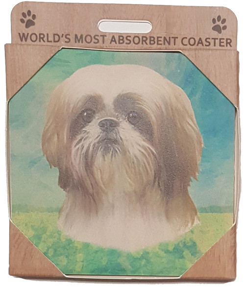 E&S Imports Ceramic Pet Coasters - Shih Tzu (Tan & White) (250-87)