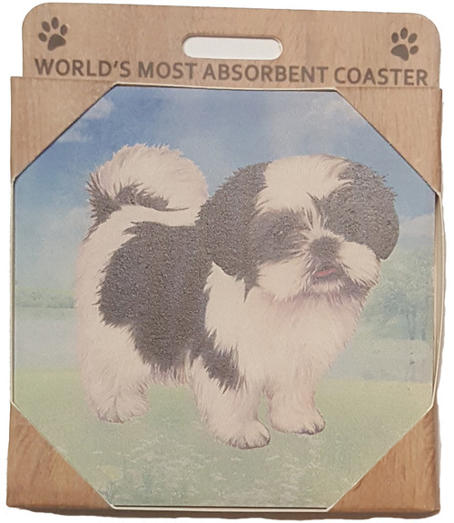 E&S Imports Ceramic Pet Coasters - Shih Tzu (Black & White Puppy Cut) (250-87b)