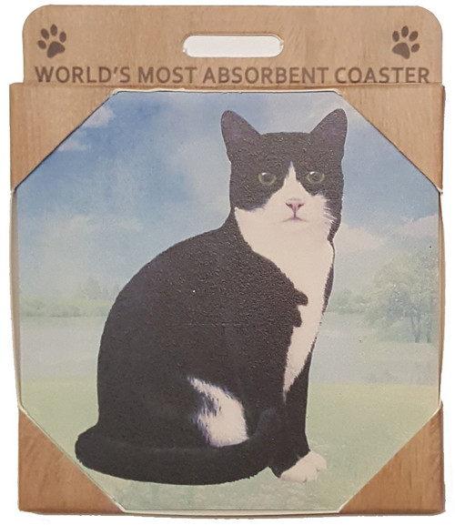 E&S Imports Ceramic Pet Coasters - Black & White Cat (251-3)