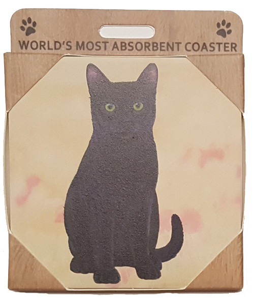 E&S Imports Ceramic Pet Coasters - Black Cat (251-5)