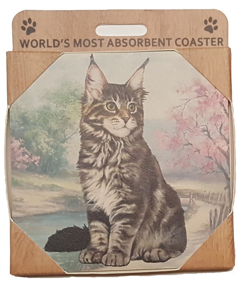 E&S Imports Ceramic Pet Coasters - Maine Coon Cat (251-6)