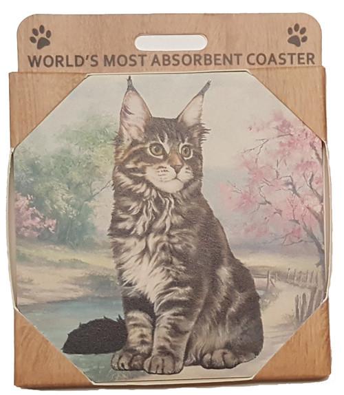 E&S Imports Ceramic Pet Coasters - Maine Coon Cat (251-6)