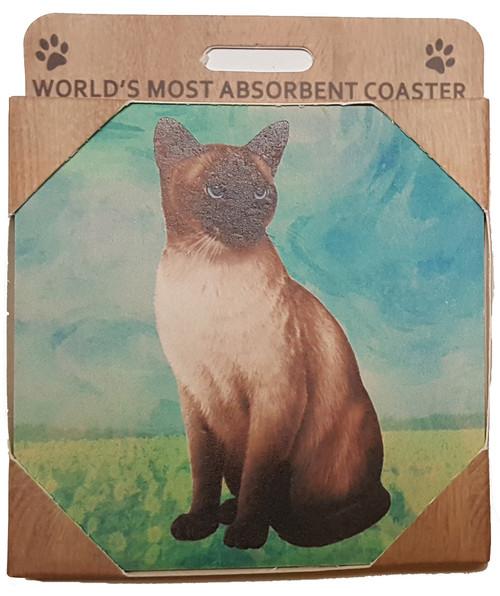 E&S Imports Ceramic Pet Coasters - Siamese Cat (251-7)