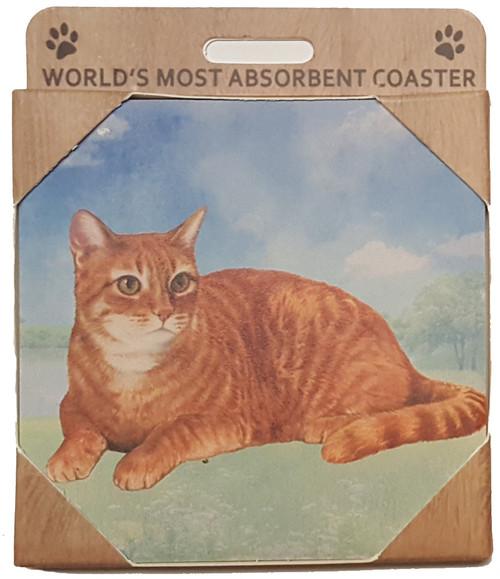 E&S Imports Ceramic Pet Coasters - Orange Tabby Cat (251-8)