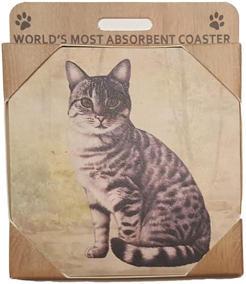 E&S Imports Ceramic Pet Coasters - Silver Tabby Cat (251-9)