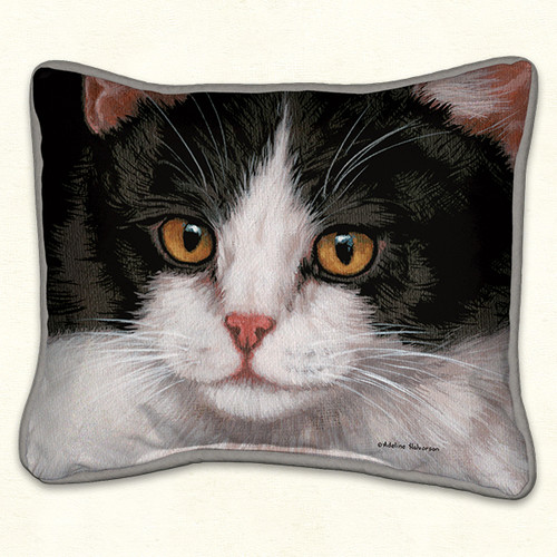 Fiddlers Elbow Black & White Cat 14x16 Pillow (92)