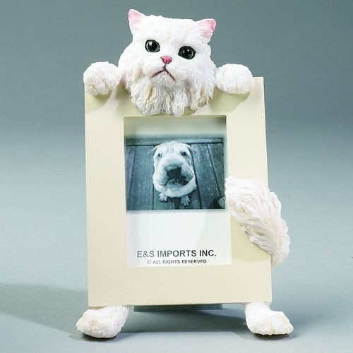 E&S Imports 2.5in x 3.5in Cat Picture Frame - Persian - White (35316-4)