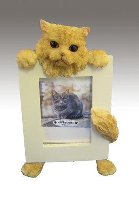 E&S Imports 2.5in x 3.5in Cat Picture Frame - Persian - Orange (35316-4a)