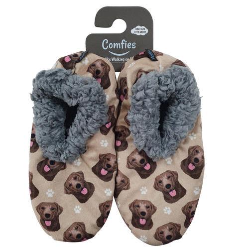 Comfies Pet Lover Slippers by E&S Imports - Chocolate Labrador Retriever (281-22)