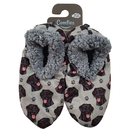 Comfies Pet Lover Slippers by E&S Imports - Black Labrador Retriever (281-21)