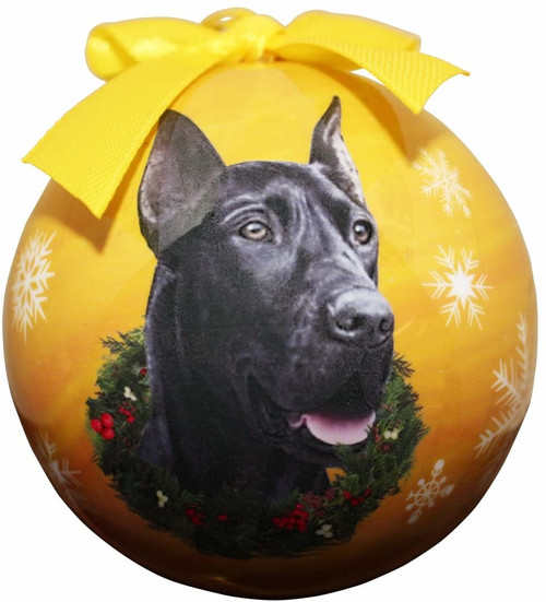 E&S Imports Shatter Proof Ball Christmas Ornament - Great Dane (Black) (CBO-51B)