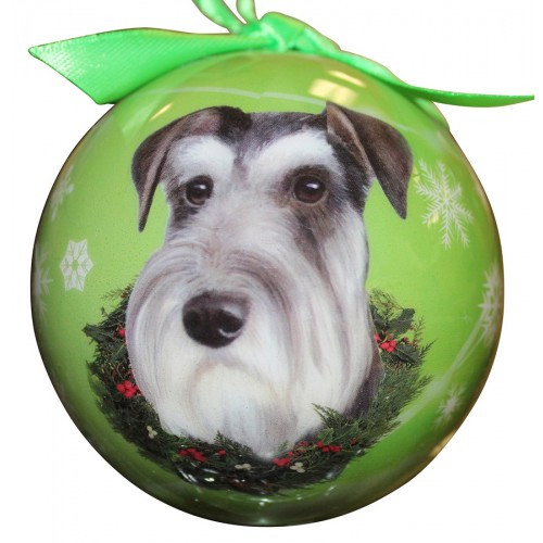 E&S Imports Shatter Proof Ball Christmas Ornament - Schnauzer (uncropped)(CBO-105)
