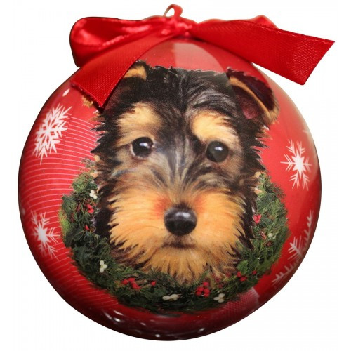 E&S Imports Shatter Proof Ball Christmas Ornament - Yorkshire Terrier (Yorkie pup )(CBO-107)