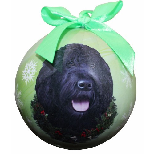 E&S Imports Shatter Proof Ball Christmas Ornament - Labradoodle (Black)(CBO-121a)