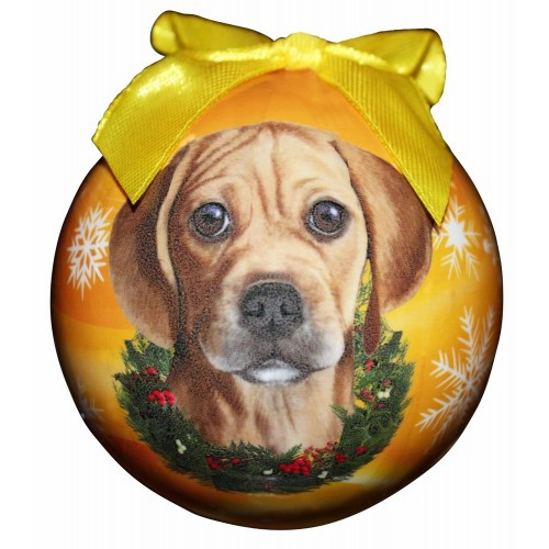 E&S Imports Shatter Proof Ball Christmas Ornament - Puggle(CBO-122)