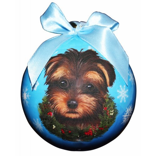 E&S Imports Shatter Proof Ball Christmas Ornament - Yorkipoo(CBO-127)