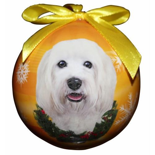 E&S Imports Shatter Proof Ball Christmas Ornament - Havanese(CBO-136)