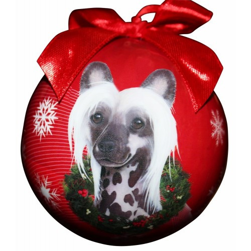 E&S Imports Shatter Proof Ball Christmas Ornament - Chinese Crested(CBO-16)