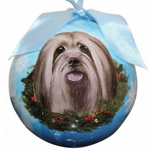 E&S Imports Shatter Proof Ball Christmas Ornament - Lhasa Apso(CBO-23)