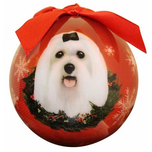 E&S Imports Shatter Proof Ball Christmas Ornament - Maltese(CBO-24)