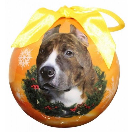 E&S Imports Shatter Proof Ball Christmas Ornament - Pit Bull (brindle & White)(CBO-26)