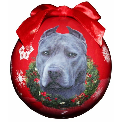 E&S Imports Shatter Proof Ball Christmas Ornament - Pit Bull (blue)(CBO-26b)