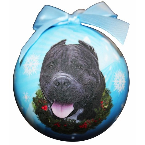 E&S Imports Shatter Proof Ball Christmas Ornament - Pit Bull (black)(CBO-26c)