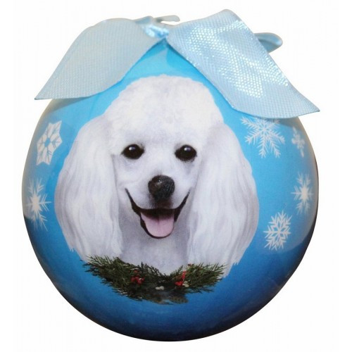 E&S Imports Shatter Proof Ball Christmas Ornament - Poodle (white)(CBO-28)