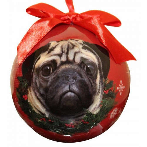 E&S Imports Shatter Proof Ball Christmas Ornament - Pug(CBO-31)