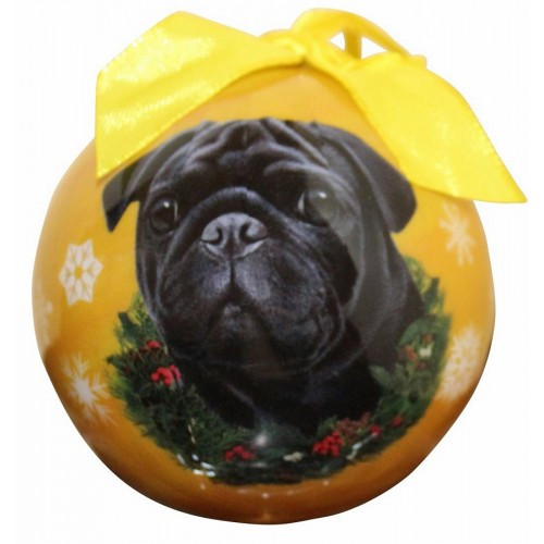 E&S Imports Shatter Proof Ball Christmas Ornament - Pug (black)(CBO-32)