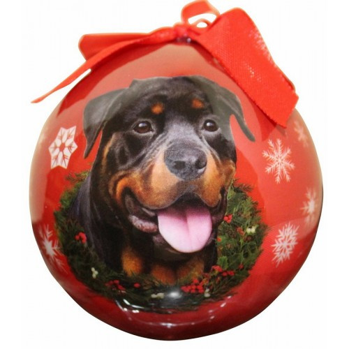 E&S Imports Shatter Proof Ball Christmas Ornament - Rottweiler(CBO-33)